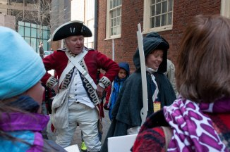Boston- March 5th, 2016- Jacob Schiller (R) participates in Little Redcoats and Little Bostonians, an interactive program for children organized by the Old State House in commemoration of the Boston Massacre. (Marwa Morgan/BUNS)