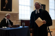 "Boston- March 5th, 2016- Ed Hurley (L) and Mike LePage (R) play the roles of the prosecutor and the lawyer, John Adams, in the interactive play ""Trial of the Century"". The play is a part of the Old State House's program in commemoration of the Boston Massacre. (Marwa Morgan/BUNS)"